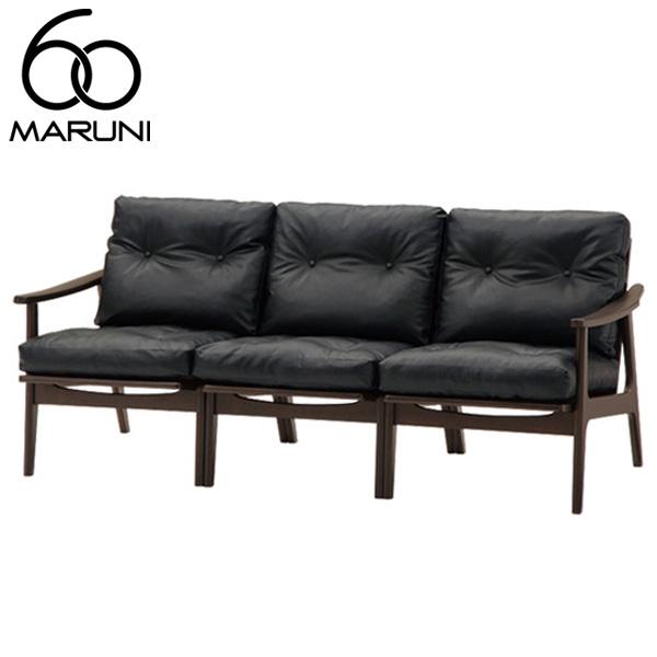 マルニ60オークフレームチェア3シーター・ブラック塗装ビニールレザー・ブラック