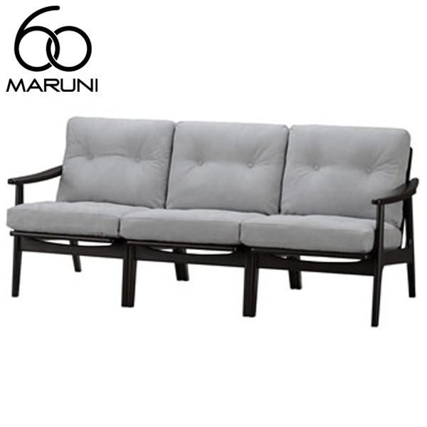 マルニ60オークフレームチェア3シーター・ブラック塗装帆布・ライトグレー