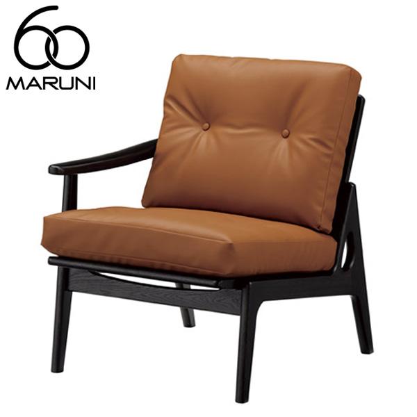 マルニ60オークフレームチェアシングルアーム座右肘・ブラック塗装ビニールレザー・ブラウン