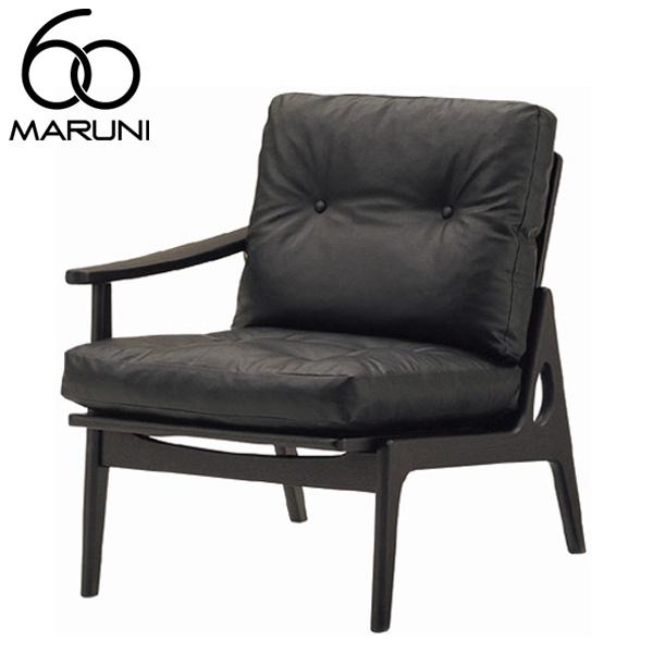 マルニ60オークフレームチェアシングルアーム座右肘・ブラック塗装ビニールレザー・ブラック