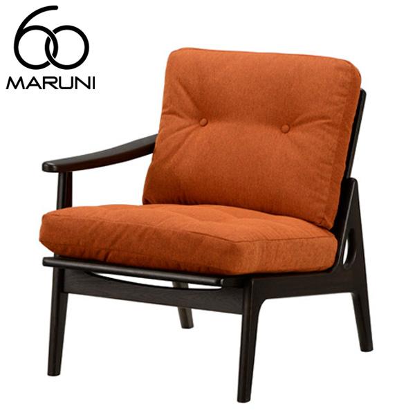 マルニ60オークフレームチェアシングルアーム座右肘・ブラック塗装サガ・オレンジ