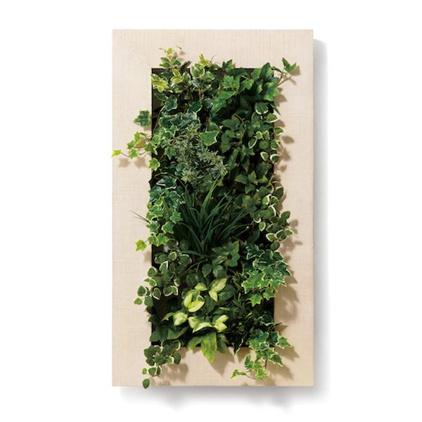 PIANTA×STANZA(ピアンタ・スタンツァ)マイギャラリー・Lサイズ500×900mmホワイトウッド(フェイクグリーン/人工植物・縦4段)