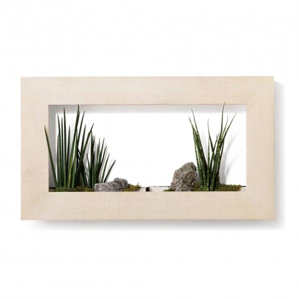 PIANTA×STANZA(ピアンタ・スタンツァ)マイギャラリー・Lサイズ900×500mmホワイトウッド(植物セット:プレミアム)