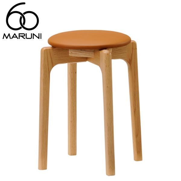 マルニ60オークフレームスタッキングスツールビニールレザー・ブラウン