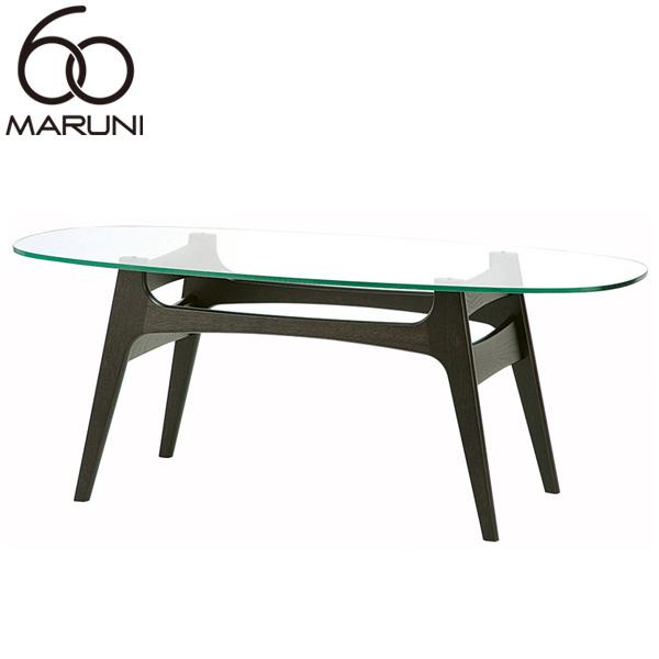 マルニ60+オークフレームコーヒーテーブル・ガラストップブラック