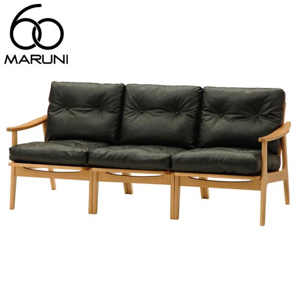 マルニ60オークフレームチェア3シーター・ナチュラル塗装ビニールレザー・ブラック
