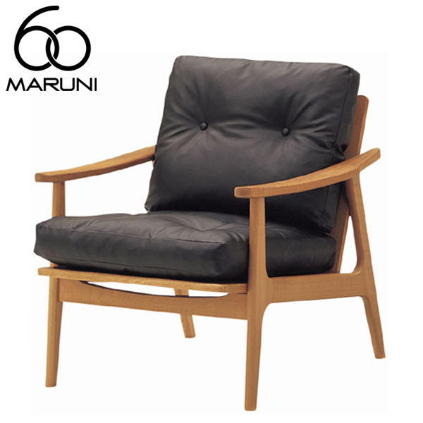 マルニ60オークフレームチェア1シーター・ナチュラル塗装ビニールレザー・ブラック