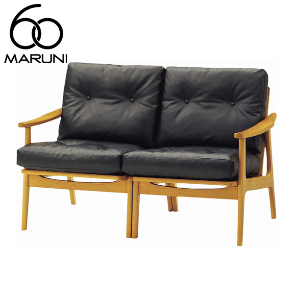 マルニ60オークフレームチェア2シーター・ナチュラル塗装ビニールレザー・ブラック