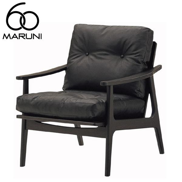マルニ60オークフレームチェア1シーター・ブラック塗装ビニールレザー・ブラック