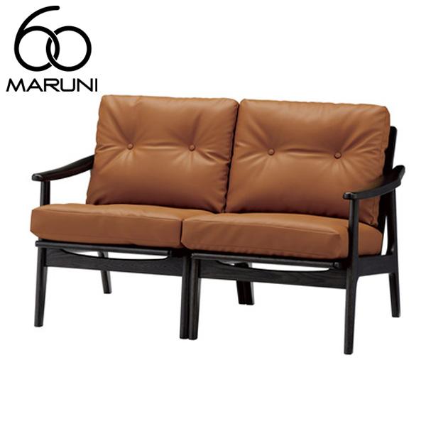 マルニ60オークフレームチェア2シーター・ブラック塗装ビニールレザー・ブラウン