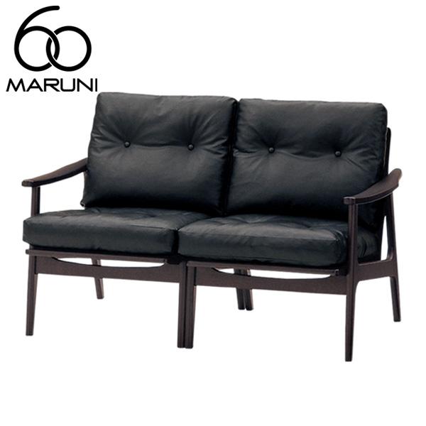 マルニ60オークフレームチェア2シーター・ブラック塗装ビニールレザー・ブラック