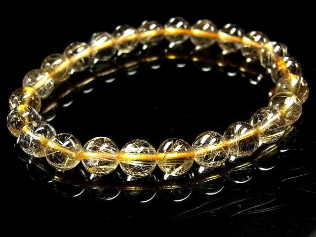 パワーストーン 天然石 高透明 ゴールドルチル ルチルクォーツ 金針水晶 ブレスレット 8mm 【Felistone】 GORB104