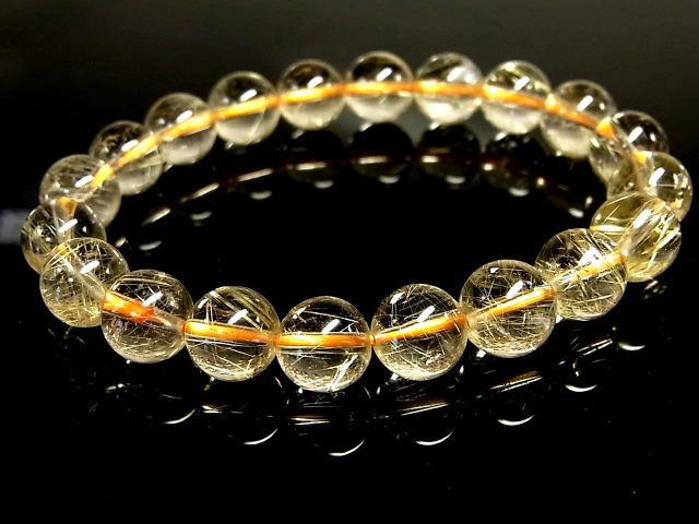 パワーストーン 天然石 高透明 ゴールドルチル ルチルクォーツ 金針水晶 ブレスレット 9.5~10mm 【Felistone】 GORB110