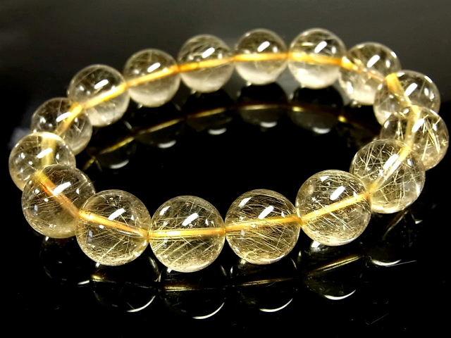パワーストーン 天然石 大粒 高透明 ゴールドルチル ルチルクォーツ 金針水晶 ブレスレット 13~14mm 【Felistone】 GORB112