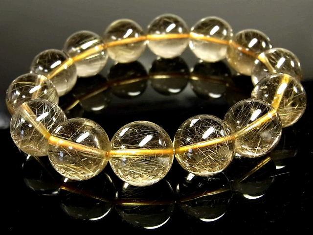 パワーストーン 天然石 超大粒 高透明 ゴールドルチル ルチルクォーツ 金針水晶 ブレスレット 16~17mm 【Felistone】 GORB113
