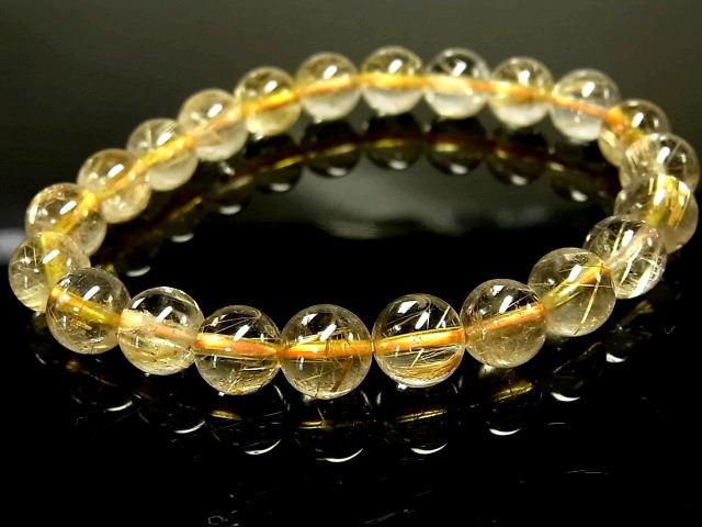 パワーストーン 天然石 ゴールドルチル ルチルクォーツ 金針水晶 ブレスレット 8.5~9mm 【Felistone】 GORB116