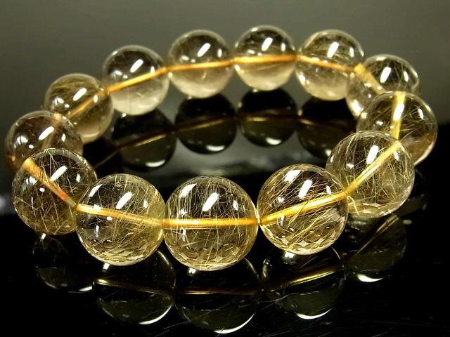 パワーストーン 天然石 超大粒 高品質 高透明 ゴールドルチル ルチルクォーツ 金針水晶 ブレスレット 18~19mm 【Felistone】 GORB118