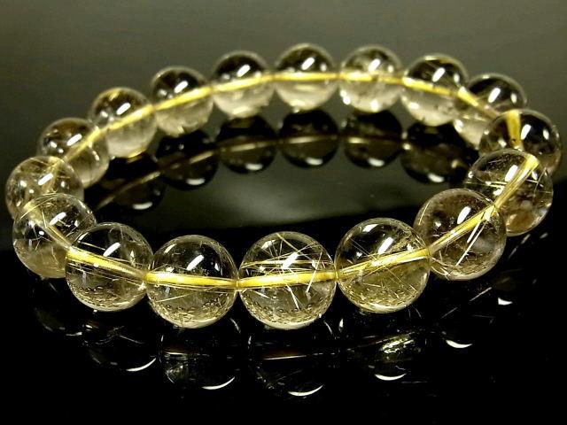 パワーストーン 天然石 高透明 ゴールドルチル ルチルクォーツ 金針水晶 ブレスレット 12~12.5mm 【Felistone】 GORB121
