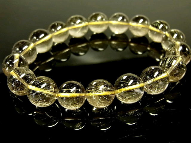 パワーストーン 天然石 高透明 ゴールドルチル ルチルクォーツ 金針水晶 ブレスレット 11~11.5mm 【Felistone】 GORB123