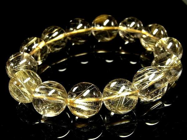 パワーストーン 天然石 大粒 最高級 高透明 ゴールドルチル ルチルクォーツ 金針水晶 ブレスレット 15~16mm 【Felistone】【ポイント10倍・クーポン5~15%OFF】 GORB76
