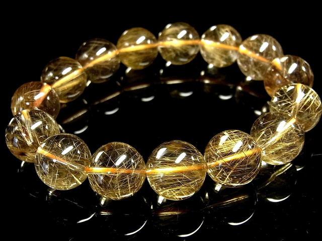 パワーストーン 天然石 大粒 高透明 ゴールドルチル ルチルクォーツ 金針水晶 ブレスレット 14~15mm 【Felistone】 GORB96