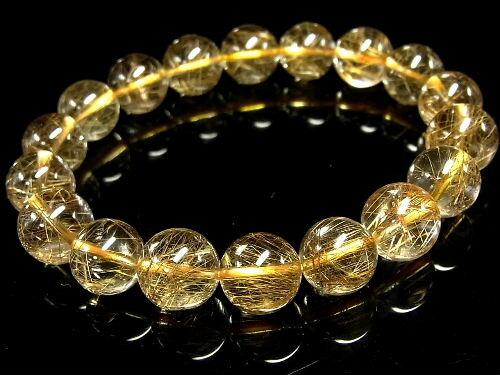 パワーストーン 天然石 最高級 ゴールドルチル ルチルクォーツ 金針水晶 ブレスレット 12~13mm 【Felistone】 GORB53
