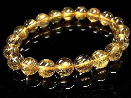 パワーストーン 天然石 ゴールドルチル ルチルクォーツ 金針水晶 ブレスレット 9.5~10mm 【Felistone】 GORB55