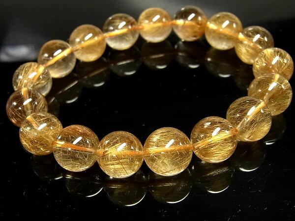 パワーストーン 天然石 ゴールドルチル ルチルクォーツ 金針水晶 ブレスレット 12mm 【Felistone】 GORB65
