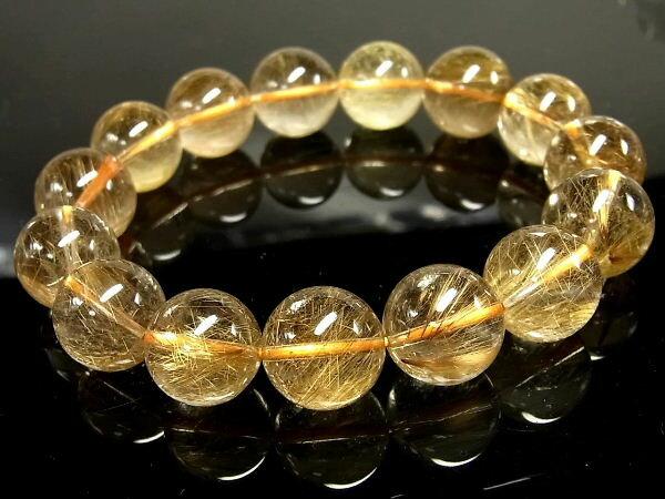 パワーストーン 天然石 大粒 ゴールドルチル ルチルクォーツ 金針水晶 ブレスレット 15.5mm 【Felistone】【ポイント10倍・クーポン5~15%OFF】 GORB67