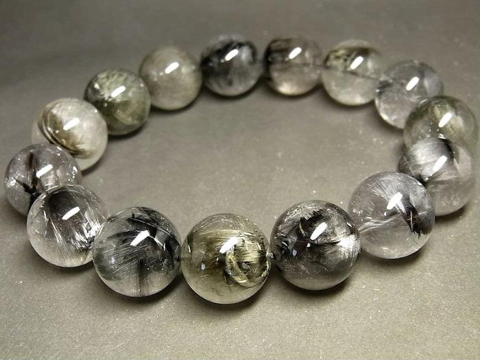 パワーストーン 天然石 超大粒 プラチナルチル ルチルクォーツ 水晶 ブレスレット 15~16mm 【Felistone】 PTRB61