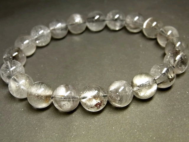 パワーストーン 天然石 プラチナルチル ルチルクォーツ 水晶 ブレスレット 9.5~10mm 【Felistone】 PTRB71