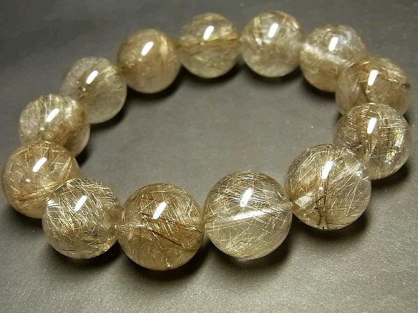 パワーストーン 天然石 超大粒 最高級 シルバールチル ルチルクォーツ 銀針水晶 ブレスレット 16~17mm 【Felistone】 SLRB15