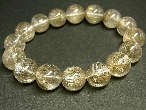 パワーストーン 天然石 最高級 大粒 シルバールチル ルチルクォーツ 銀針水晶 ブレスレット 13~14mm 【Felistone】 SLRB22