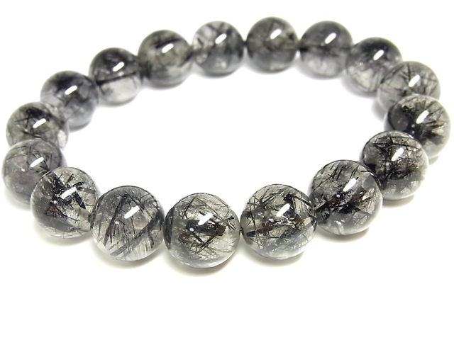 パワーストーン 天然石 ブラックルチル ルチルクォーツ 黒針水晶 ブレスレット 12.5~13mm 【Felistone】 BLRB44
