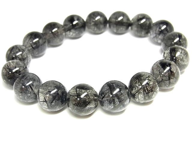 パワーストーン 天然石 ブラックルチル ルチルクォーツ 黒針水晶 ブレスレット 12.5~13mm 【Felistone】 BLRB49