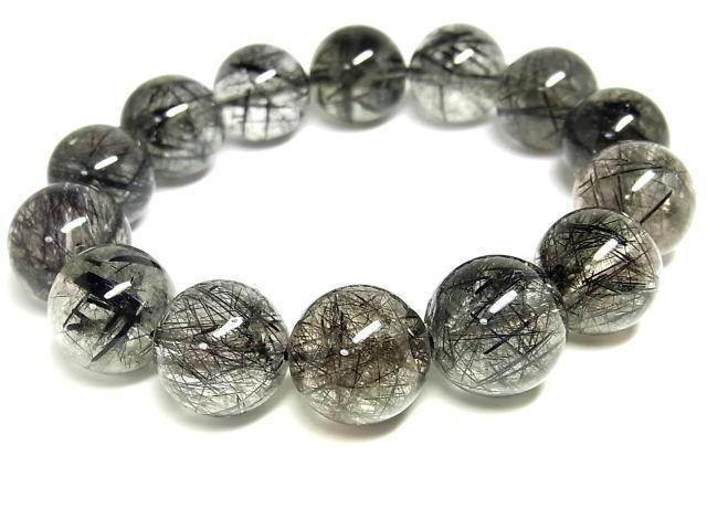 パワーストーン 天然石 超大粒 ブラックルチル ルチルクォーツ 黒針水晶 ブレスレット 15~16mm 【Felistone】 BLRB51