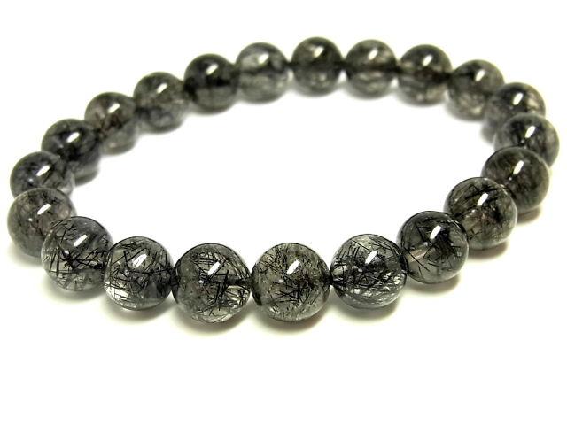 パワーストーン 天然石 ブラックルチル ルチルクォーツ 黒針水晶 ブレスレット 9~9.5mm 【Felistone】 BLRB52
