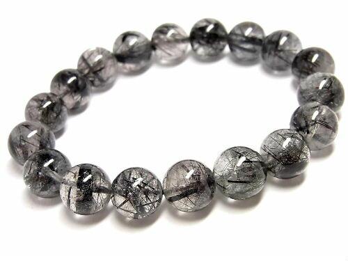 パワーストーン 天然石 ブラックルチル ルチルクォーツ 黒針水晶 ブレスレット 11~11.5mm 【Felistone】 BLRB25