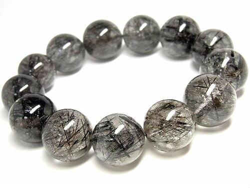 パワーストーン 天然石 超大粒 ブラックルチル ルチルクォーツ 黒針水晶 ブレスレット 19~20mm 【Felistone】 BLRB27