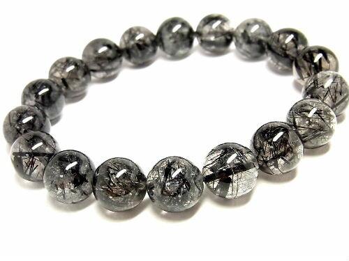 パワーストーン 天然石 ルチルクォーツ ブレスレット ブラックルチル 黒針水晶 12~12.5mm 【Felistone】 BLRB29