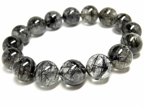 パワーストーン 天然石 ルチルクォーツ ブレスレット ブラックルチル 黒針水晶 13~14mm 【Felistone】 BLRB32