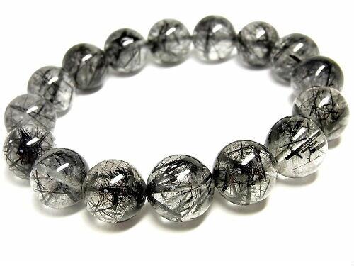 パワーストーン 天然石 ルチルクォーツ ブレスレット ブラックルチル 黒針水晶 14~15mm 【Felistone】 BLRB33