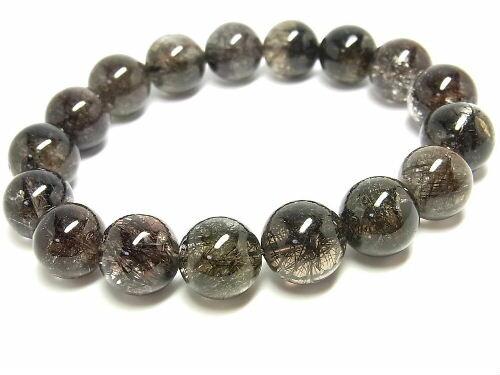 パワーストーン 天然石 ブラックルチル ルチルクォーツ 黒針水晶 ブレスレット 12~13mm 【Felistone】 BLRB36