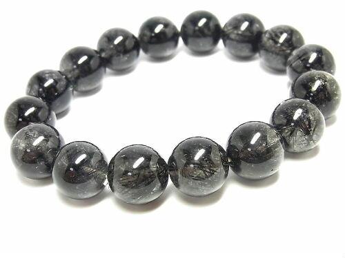 パワーストーン 天然石 大粒 ブラックルチル ルチルクォーツ 黒針水晶 ブレスレット 14~15mm 【Felistone】 BLRB37