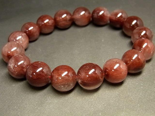パワーストーン 天然石 レッドルチル ルチルクォーツ 赤針水晶 ブレスレット 12~13mm 【Felistone】 RERB58