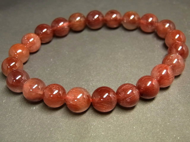 パワーストーン 天然石 キャッツアイレッドルチル ルチルクォーツ 赤針水晶 ブレスレット 8~8.5mm 【Felistone】 RERB61