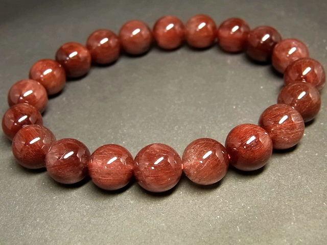 パワーストーン 天然石 キャッツアイレッドルチル ルチルクォーツ 赤針水晶 ブレスレット 9.5~10mm 【Felistone】 RERB65