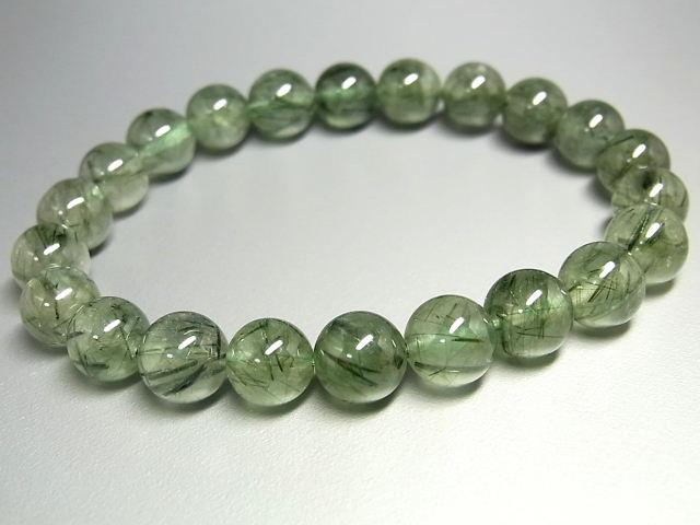 パワーストーン 天然石 グリーンルチル ルチルクォーツ 緑針水晶 ブレスレット 8.5~9mm 【Felistone】 GRRB26