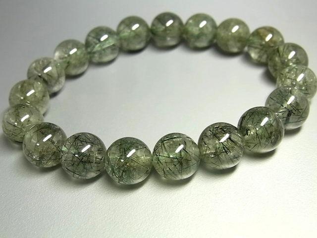 パワーストーン 天然石 グリーンルチル ルチルクォーツ 緑針水晶 ブレスレット 10.5~11mm 【Felistone】 GRRB28