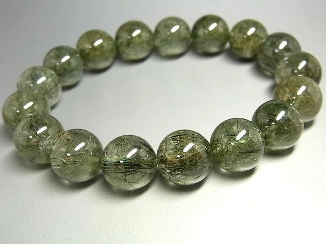 パワーストーン 天然石 大粒 グリーンルチル ルチルクォーツ 緑針水晶 ブレスレット 13mm 【Felistone】 GRRB29